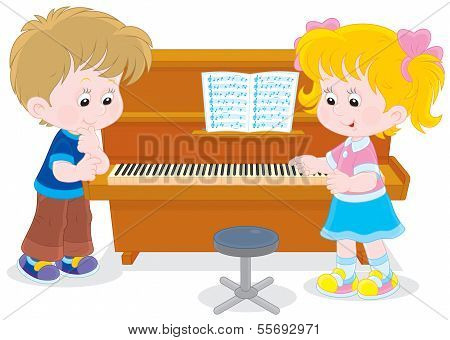 Children play a piano