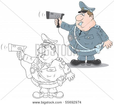 Traffic policeman with a radar
