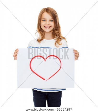 creation, art, family, happiness and painting concept - smiling little child holding picture of red heart