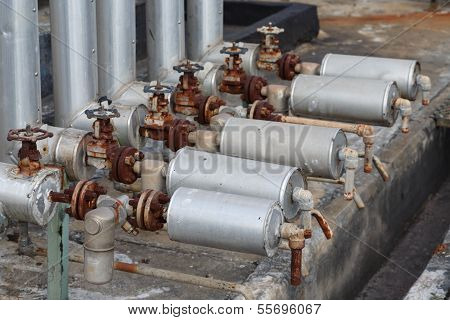 Close-up Of Old Steam Trap Valve On Pipe Connection