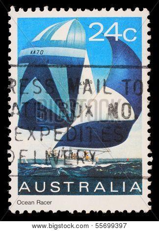 AUSTRALIA - CIRCA 1981: A stamp printed in Australia shows an ocean racer, circa 1981