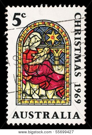 AUSTRALIA - CIRCA 1969: A stamp printed in Australia shows the Nativity, Christmas series, circa 1969