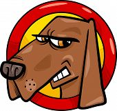 Cartoon Illustration of Bad Angry Dog Sign poster