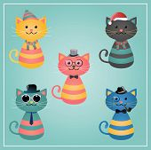 Cute Winter Funny Hipster Cats Vector Illustration poster