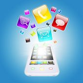 Smart phone and program icons. The concept of computer software poster