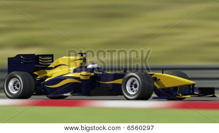 Race Car On Track - Side View