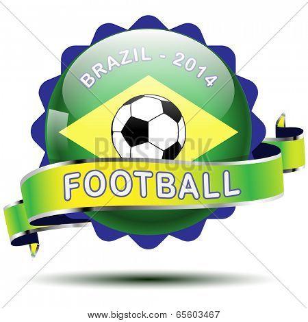 Vector icon and flag of Brazil. Futboll 2014. Illustration.