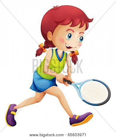 Illustration of a young lady playing tennis on a white background