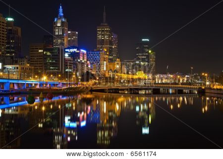 Downtown of Melbourne at night Yarra river poster