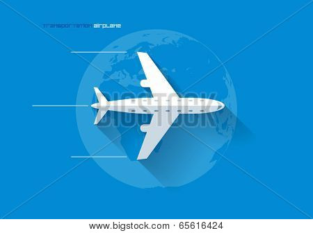 Vector flat transportation concept icon illustration. Airplane.