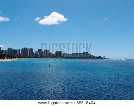 Ala Moana Beach Park With Buildings Of Waikiki And Iconic Diamondhead In The Distance