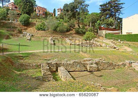 Remains of the Roman villa of the Ametllers in Tossa de Mar, Costa Brava, Spain poster