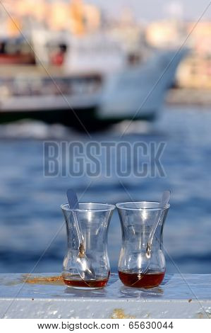 Empty Tea Glasses On The Railings In Istanbul Turkey