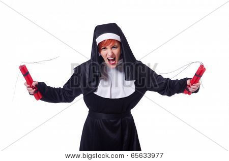 Nun with dynamite isolated on the white