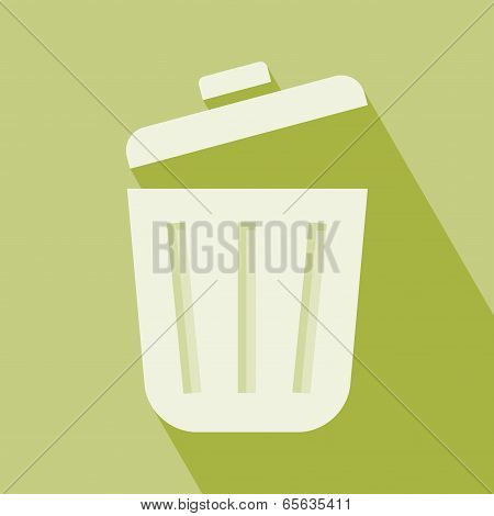 Bin Icon. Bin symbol on light green background. Trash bin vector icon. Elements for design. poster