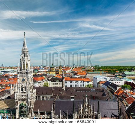 View of Munich: Marienplatz, Neues Rathaus and Frauenkirche from St. Peter's church. Munich, Germany