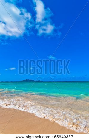 day view of tropical paradise Kailua Beach in Oahu, Hawaii poster