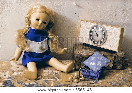Retro Still Life Damaged Vintage Doll