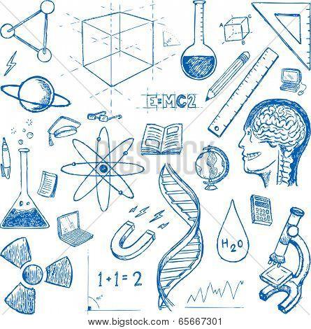 Sciences doodles icons vector set