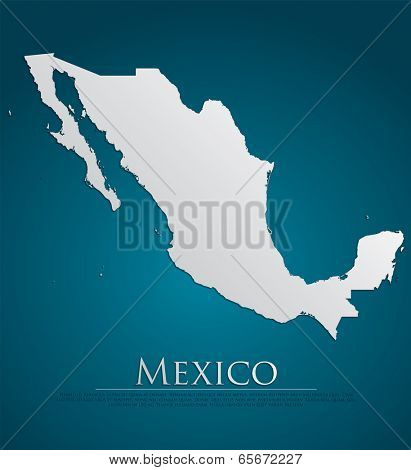 vector Mexico Map card paper on blue background, high detailed