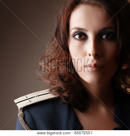 Sexy Strict Woman With Red Lips And Epaulettes