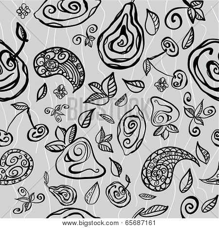 Seamless pattern with stylized fruits and doodles poster
