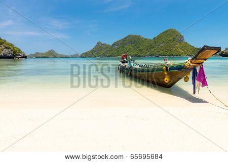 Traditional fishing longtail boat at Angthong national marine park near Koh Samui, Thailand