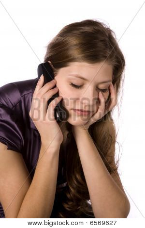 Woman On Phone Worried