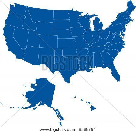 USA 50 States Blue