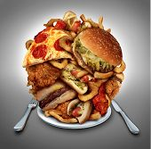 Fast food diet concept served on a plate as a heap of greasy fried snacks. poster