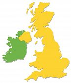 UK and Ireland outline in yellow and green poster
