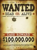 Illustration of a vintage old wanted placard poster template with dead or alive inscription cash poster