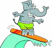 Cartoon illustration of a surfing smiling elephant. poster