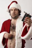 A drunk Santa Claus with flask and ripe with bad attitude. poster