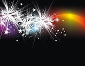 Xmas snow background with new year in rainbow background. Vector illustration poster