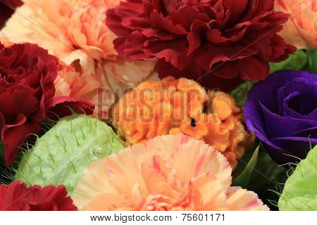 Cockscomb flower and Carnation flowers and Rose
