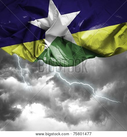 Rondonia, Brazil waving flag on a bad day