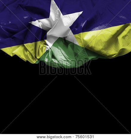 Rondonia, Brazil waving flag on black background
