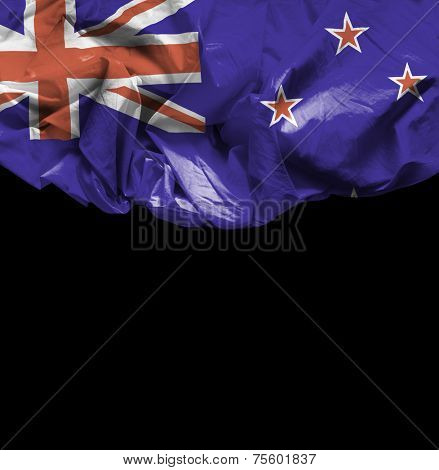 New Zealand waving flag on black background