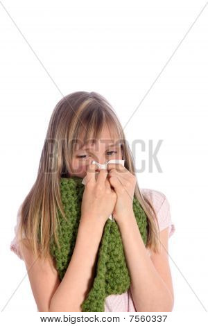 Sick, Young Girl  Blows Her Nose
