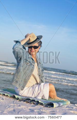 Confident Mature Woman At The Beach Portrait