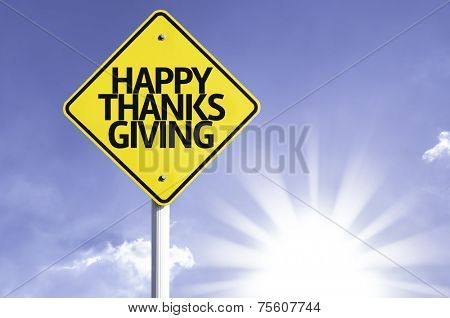 Happy Thanksgiving road sign with sun background