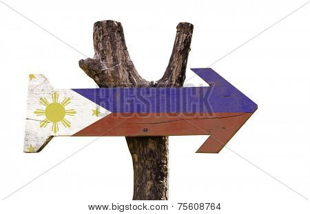 Philippines wooden sign isolated on white background