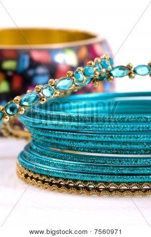 Fashion Bracelets On White Background