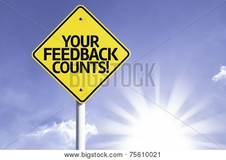 Your Feedback Counts road sign with sun background
