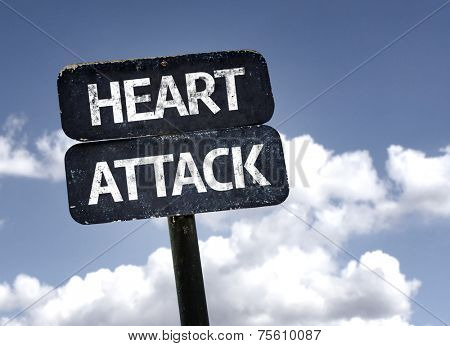 Heart Attack sign with clouds and sky background