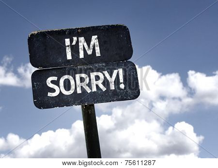 I'm Sorry! sign with clouds and sky background