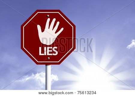 Stop Lies red sign with sun background