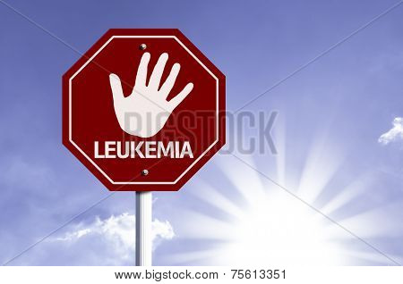 Stop Leukemia red sign with sun background