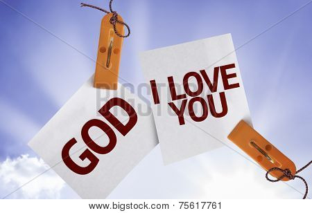 God I Love You on Paper Note on sky background
